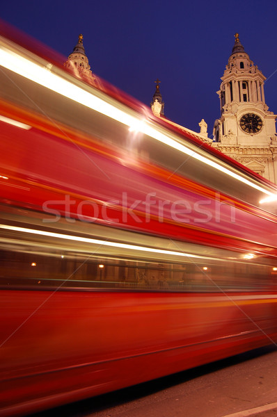 Stock photo: Blurred red London bus