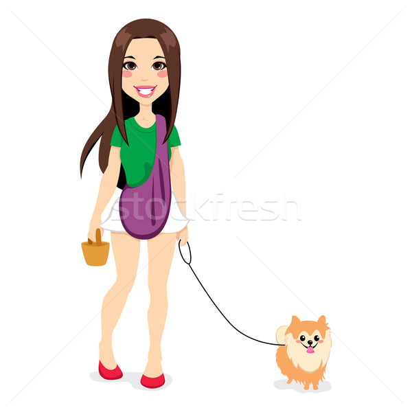 Stock photo: Girl Walking Little Pomeranian