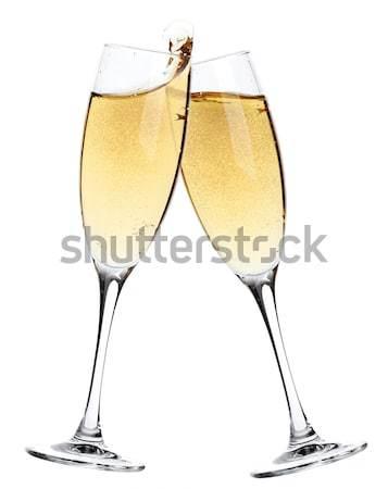 Cheers two champagne glasses stock photo evgeny karandaev karandaev 541114 stockfresh - Square bottom wine glasses ...