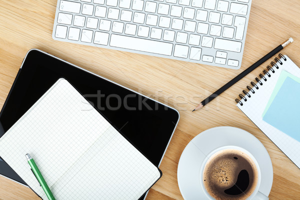 Stock photo: Office supplies, gadgets and coffee cup