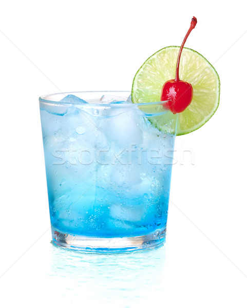 Stock photo : Blue alcohol cocktail with maraschino and lime. Isolated ...