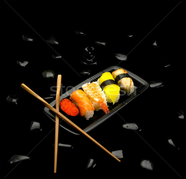 Stock photo: assorted sushi plate