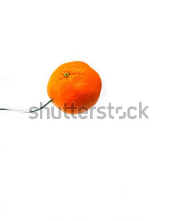 Stock photo: orange mandarin tangerine on fork over white