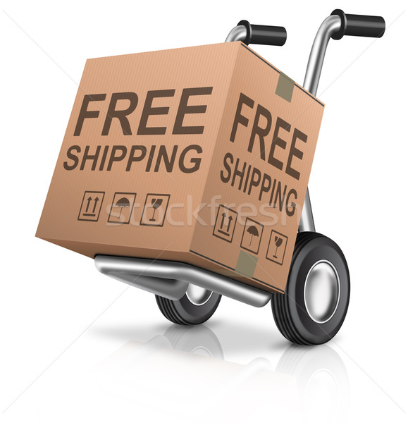Stock photo: free shipping carboard box