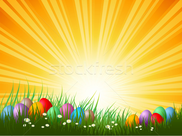 Stock photo: easter eggs in grass