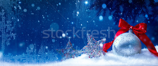 Stock photo: art blue snow christmas background