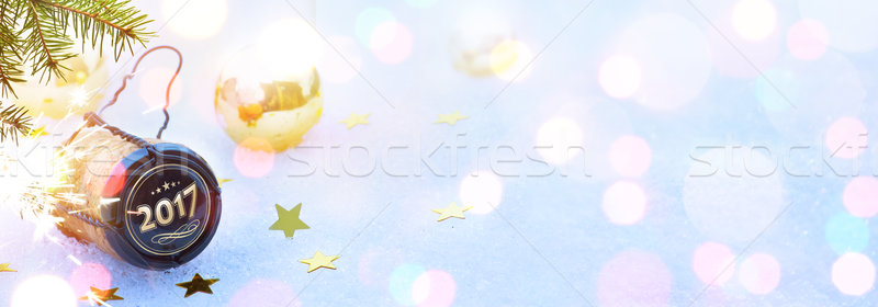 Stock photo: art 2017 Merry Christmas and happy New Years party; header backg