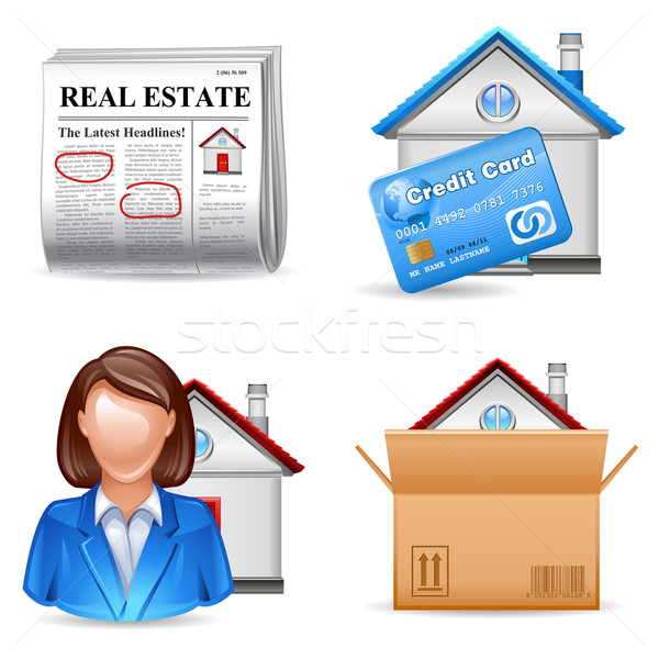 Stock photo: real estate icons set 2