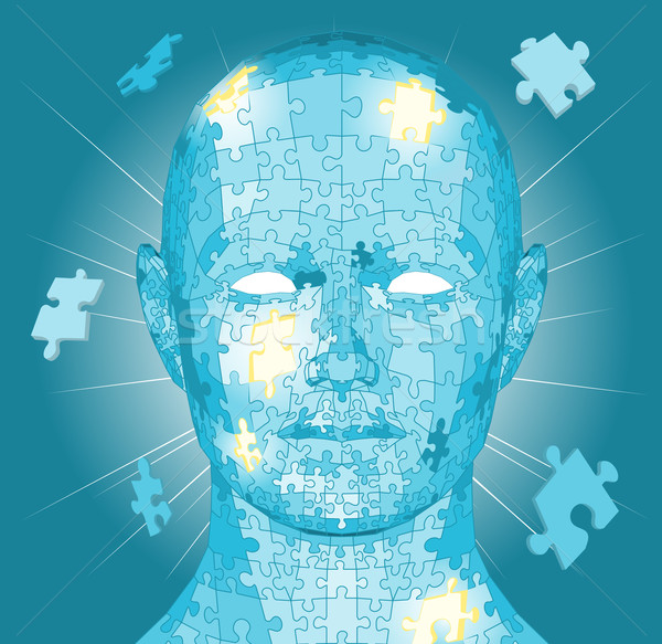 Stock photo: Jigsaw puzzle pieces head