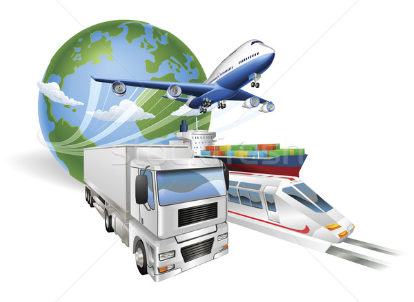 Stock photo: Global logistics concept airplane truck train ship