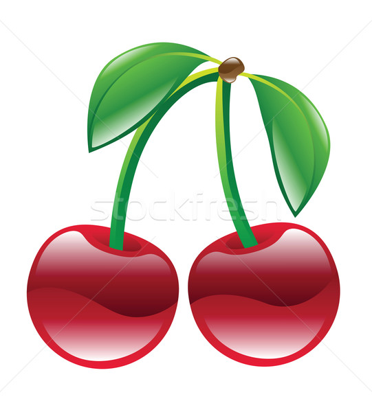 Stock photo: cherries illustration