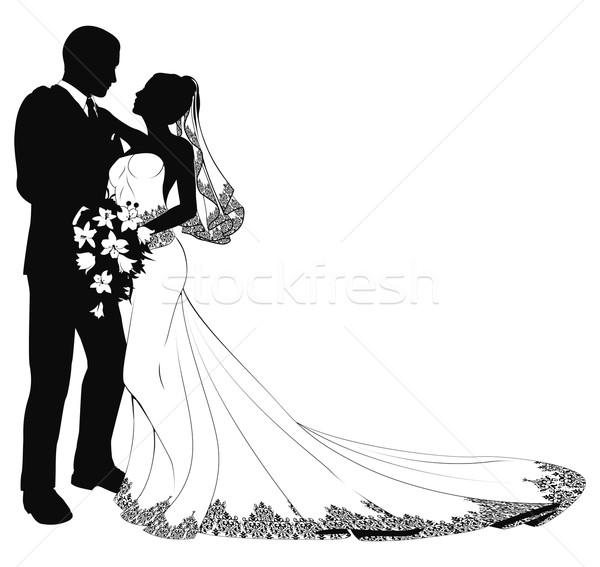 stock photo bride groom silhouette