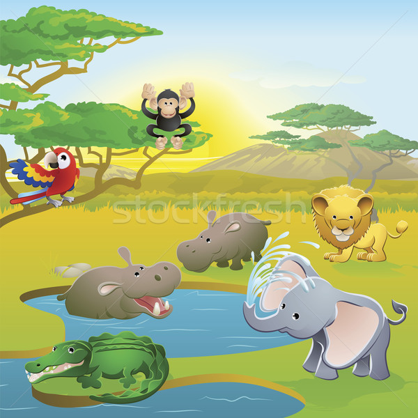Stock photo: Cute African safari animal cartoon scene
