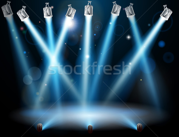 Stock photo: Blue spotlights background