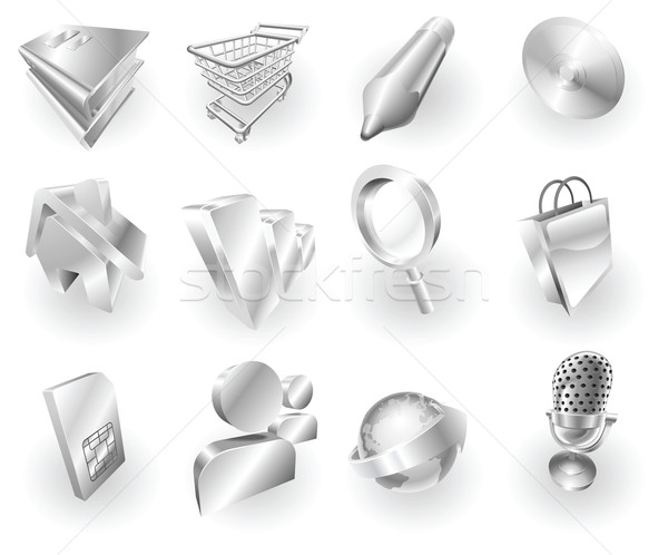 Stock photo: Metal metallic web and application icon set