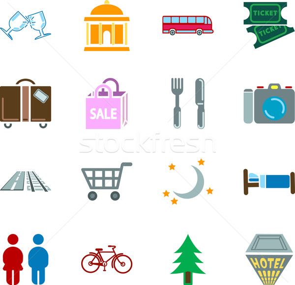 Stock photo: location tourism icons