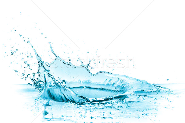 turquoise water splash, isolated on white
