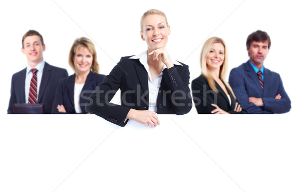 Group of professional business people with banner. Isolated over white background.