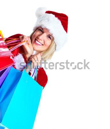 Christmas Shopping Woman With Gifts Stock Photo Kurhan