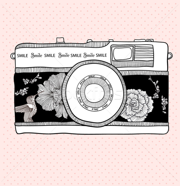 Stock photo: Background with retro camera.  Photo camera with flowers and birds