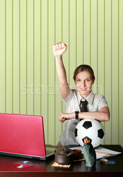 Stock photo: businesswoman watching soccer competitions