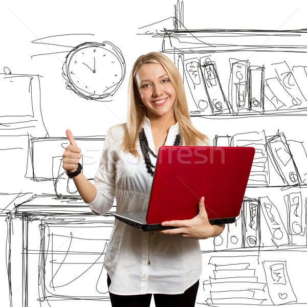 Stock photo: female with laptop shows well done