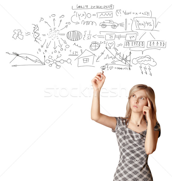 Stock photo: businesswoman writting something