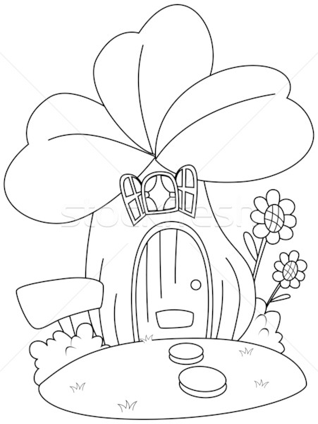 Line Art Xl 2010 : Line art clover house vector illustration lenm