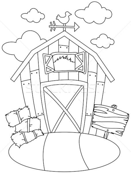 Line Art Xl 2010 : Line art barn house vector illustration lenm