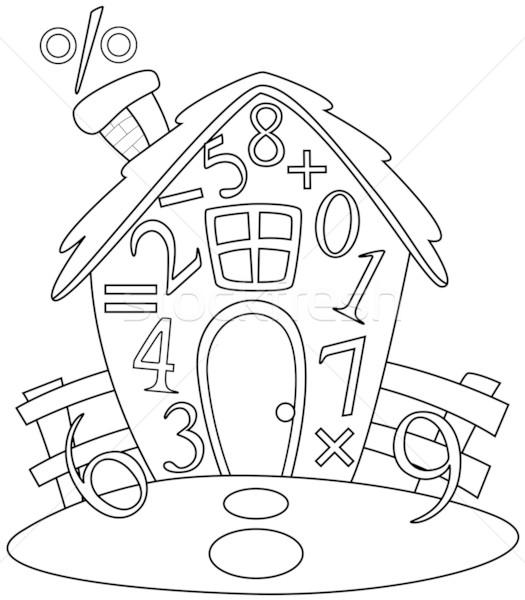 Line Art Xl 2010 : Line art math house vector illustration lenm