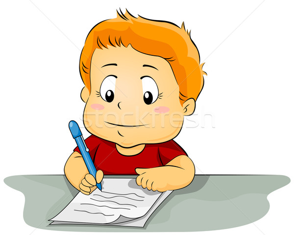 Kid Writing On Paper Vector Illustration 169 Lenm 533370