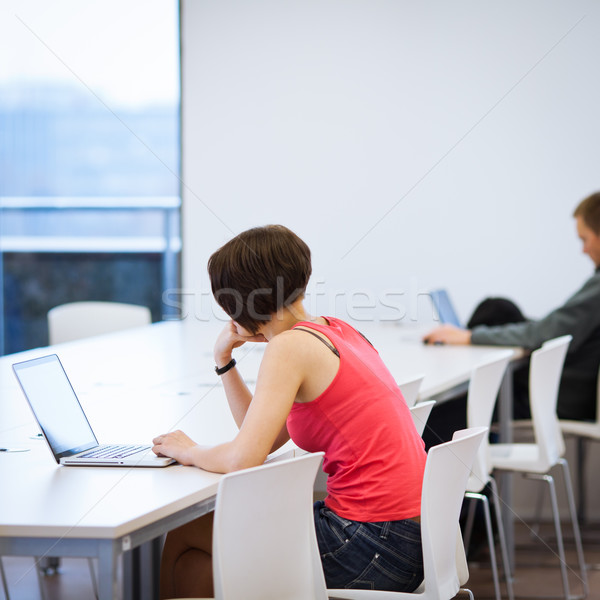 Stock photo: Pretty young college student studying in the library/a study roo