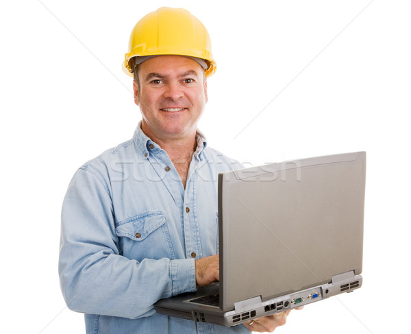 Stock photo: Contractor with Laptop
