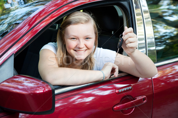 Stock photo: Beautiful Teen Girl with New Car
