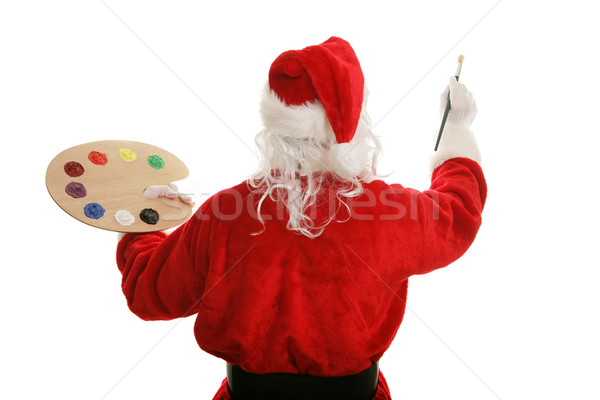 Stock photo: Artist Santa Painting