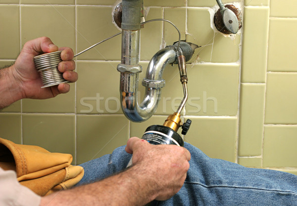 Stock photo: Plumber Welding Pipe