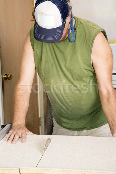 Stock photo: Cutting Laminate with Table Saw