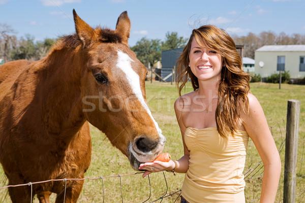Teen Girl & Her Horse stock photo © Lisa Young (lisafx ...