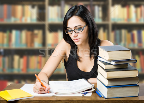 Stock photo: Attractive young brunette student girl.