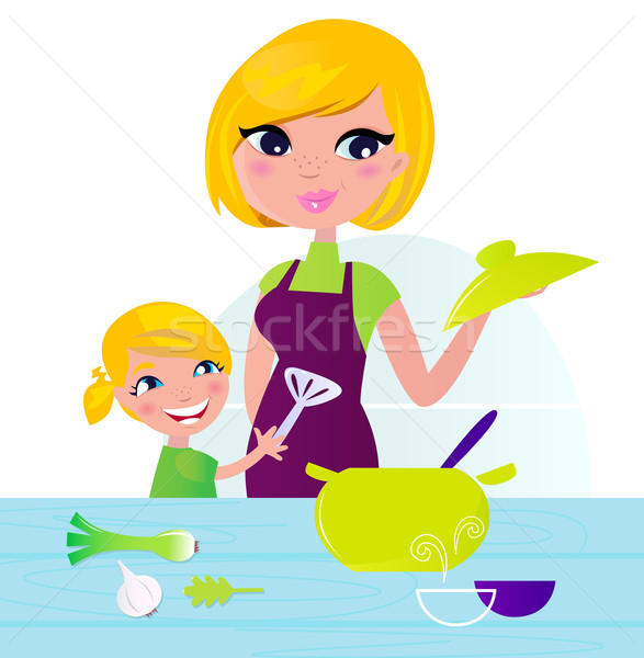 Stock photo: Mother with child cooking healthy food in kitchen