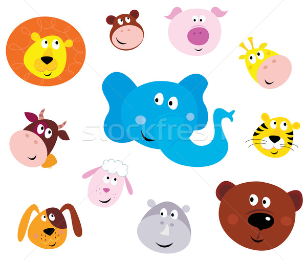 Stock photo: Cute Smiling Animal Head Icons ( Emoticons )