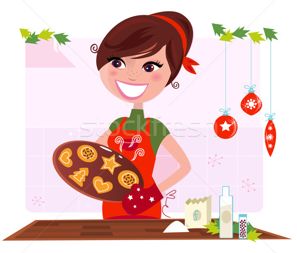 Stock photo: Secret recipe: Woman preparing christmas cookies