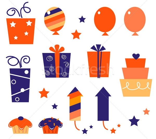 Stock photo: Birthday icons & elements collection isolated on white ( blue, r