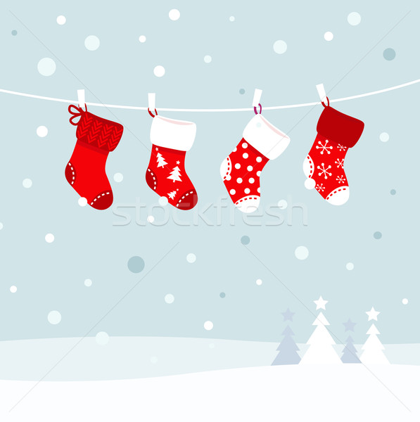 Stock photo: Christmas stockings in winter nature - white and red
