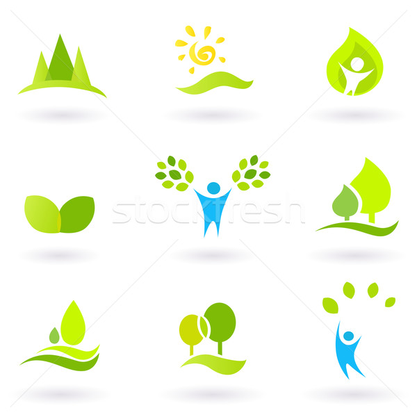 Stock photo: Tree, leaves and ecology vector icon set (blue and green)