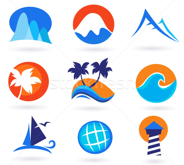 Stock photo: Vacation, Travel And Holiday Summer Icons - Red, Orange, Blue
