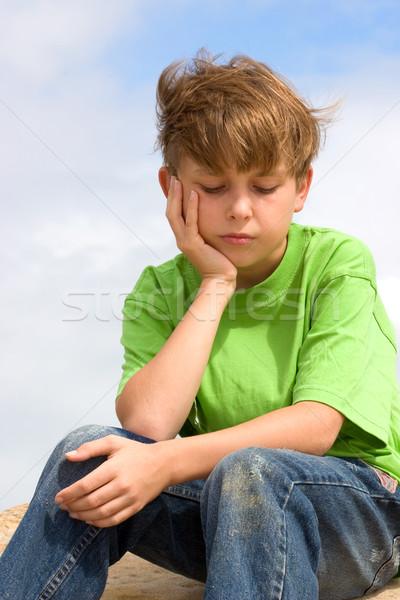 Boy feeling blue depressed sad stock photo © Leah-Anne ...