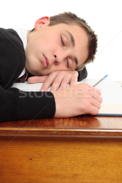 Stock photo: Tired bored student at desk