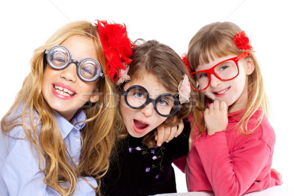 Stock photo: nerd children girl group with funny glasses