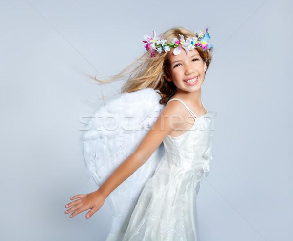 Angel Children Girl Wind In Hair Fashion Flowers Crown